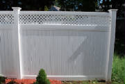 A nice vinyl fence with lattice top installed by Local Fence in North Andover mass. We also install cedar, aluminum and chain link fening. Free fence estimates.