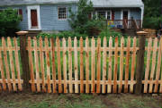 Cedar picket fence recently installed by Local Fence in North Reading Mass. We install and repair fence in many cities and towns in Essex and Middlesex county. Free Fence Estimates are just a call away.